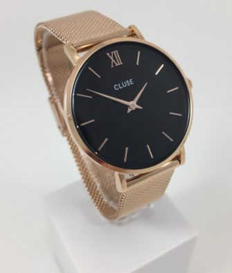 Montre Cluse Minuit Mesh Rose Gold Black