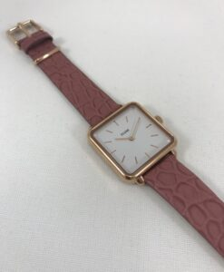 Montre Cluse La Tétragone Rose Gold Soft Berry Alligator