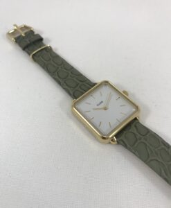 Montre Cluse La Tétragone Gold Green Alligator