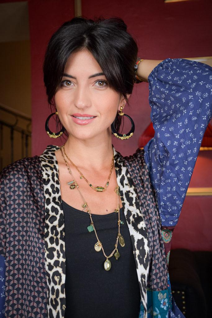 Marie K Collier By Garance Boucles d'oreilles Gas Bijoux Kimono Fleur de pirate