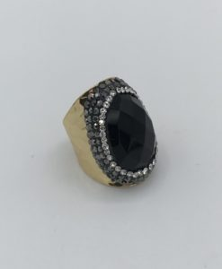 Bijoux fantaisies Bague Hypnochic Pierre noire